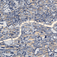 Silk Screen Hand-Drawn Map of London