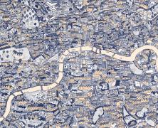 Silk Screen Hand-Drawn Map of London