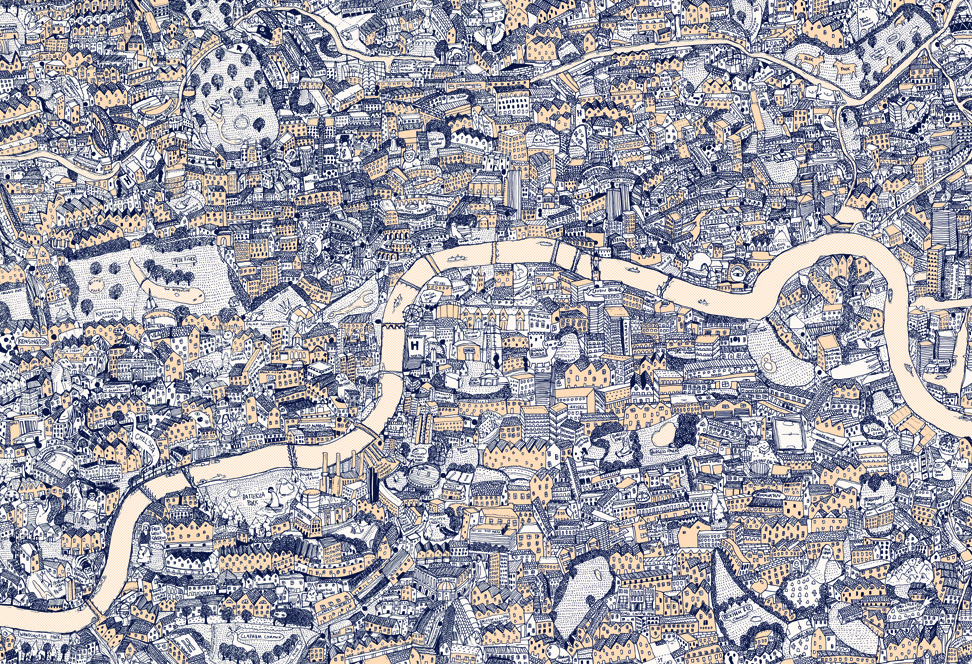 Silk Screen Handdrawn Map Of London Mapping: Map Of London Print At Infoasik.co
