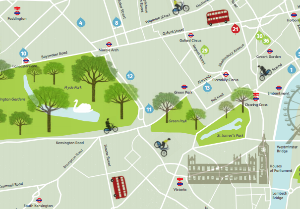 Green London Map – Tourist Map of London England