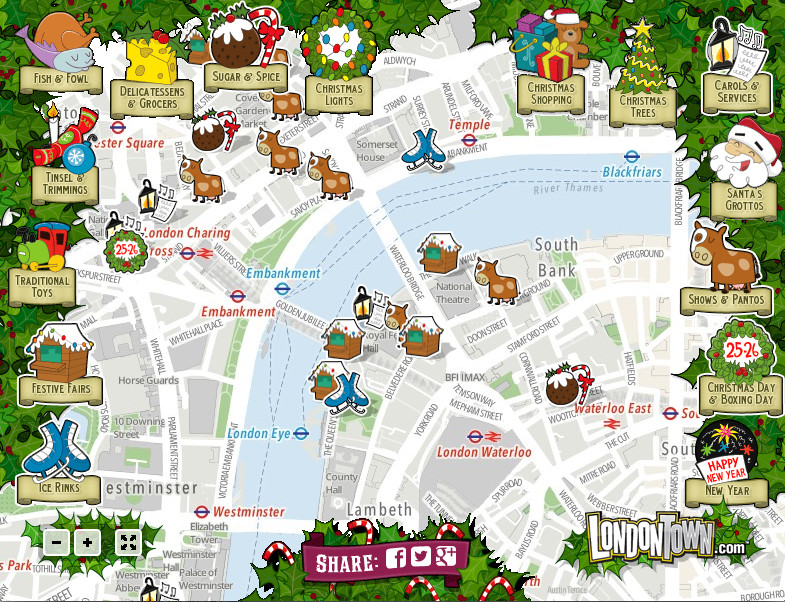 London Christmas Map – Map Of London England With Tourist Attractions