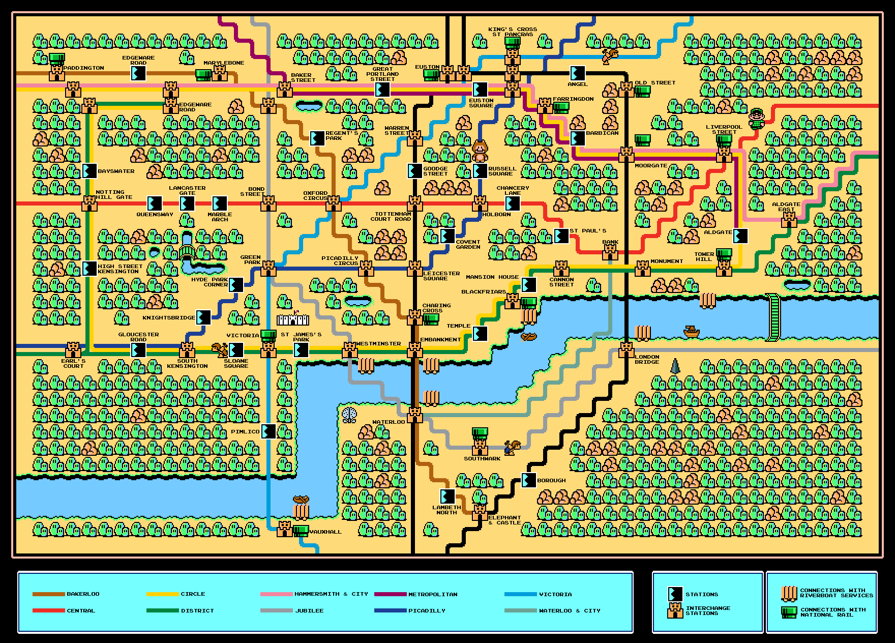 Computer Game Sprite Map Of Zone 1 Mapping London