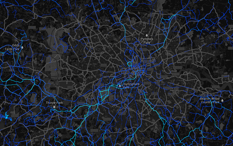Strava Heatmap of Sports Activity