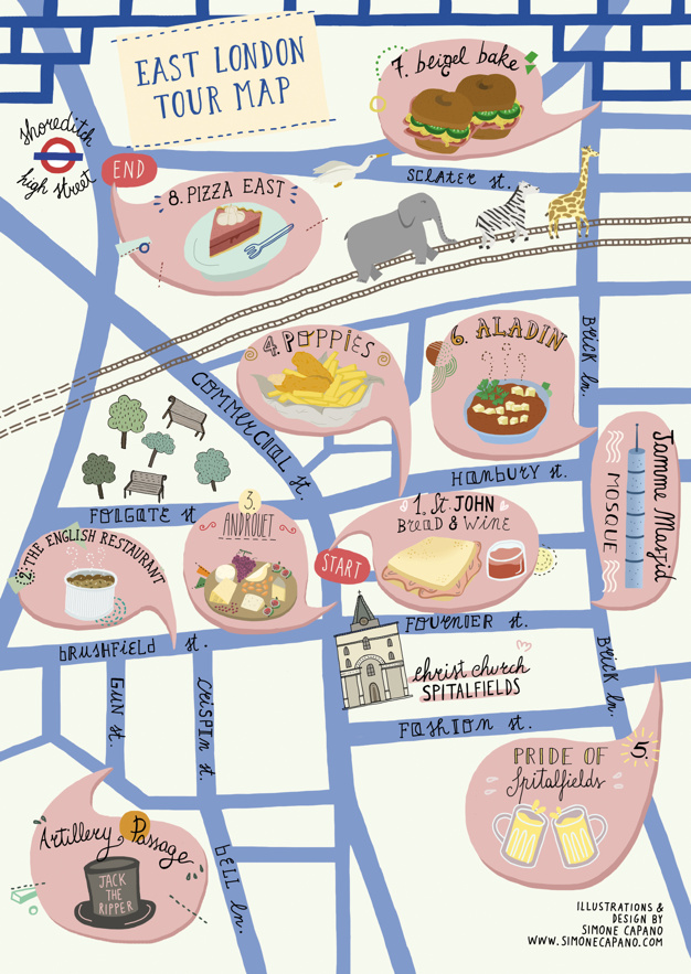 A Food Tour Map for East London – London Tourist Maps