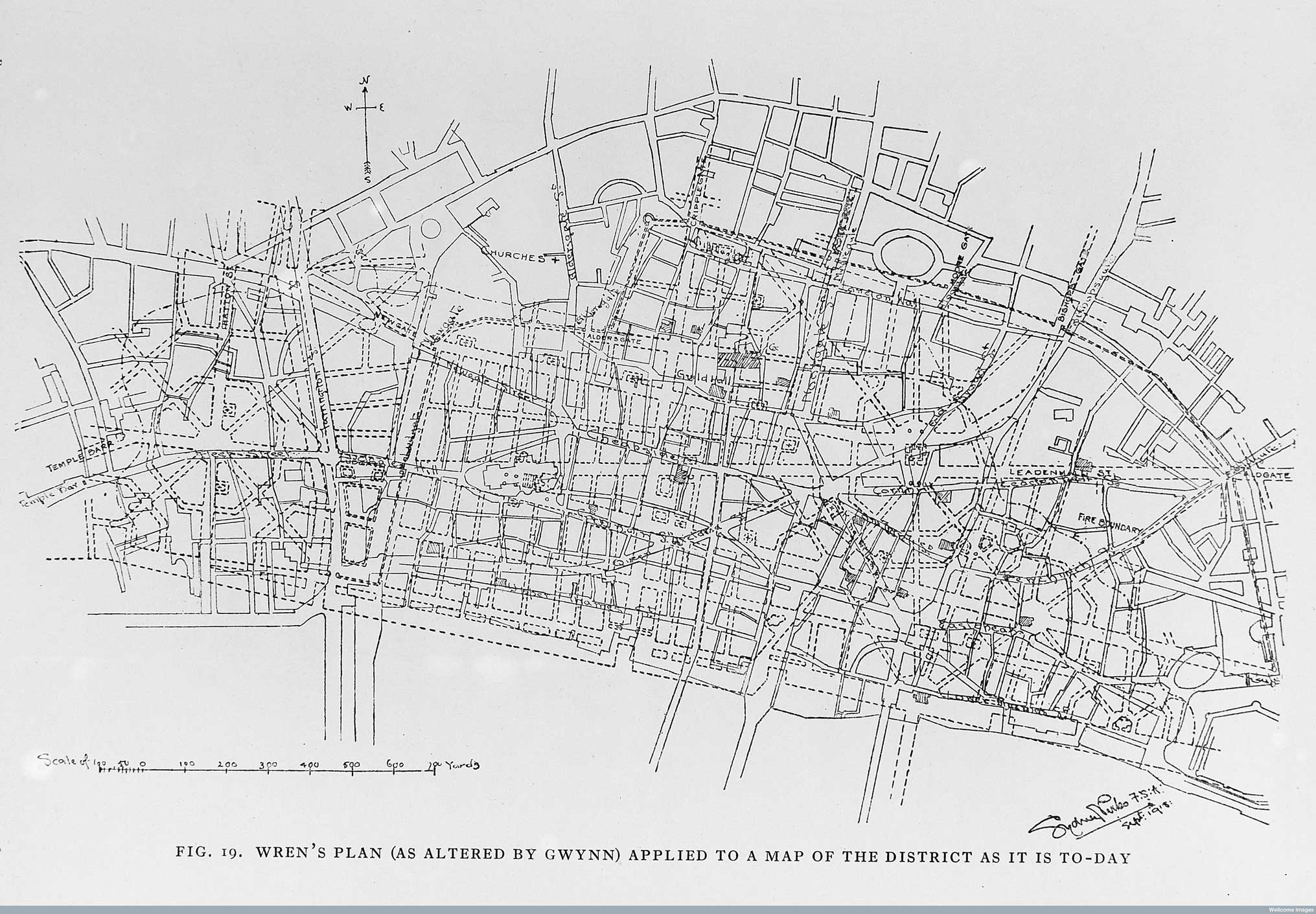 the map below published in 1845 by john haygarth shows the wren plan as dashed lines overlaid onto the victorian street network for the city of london