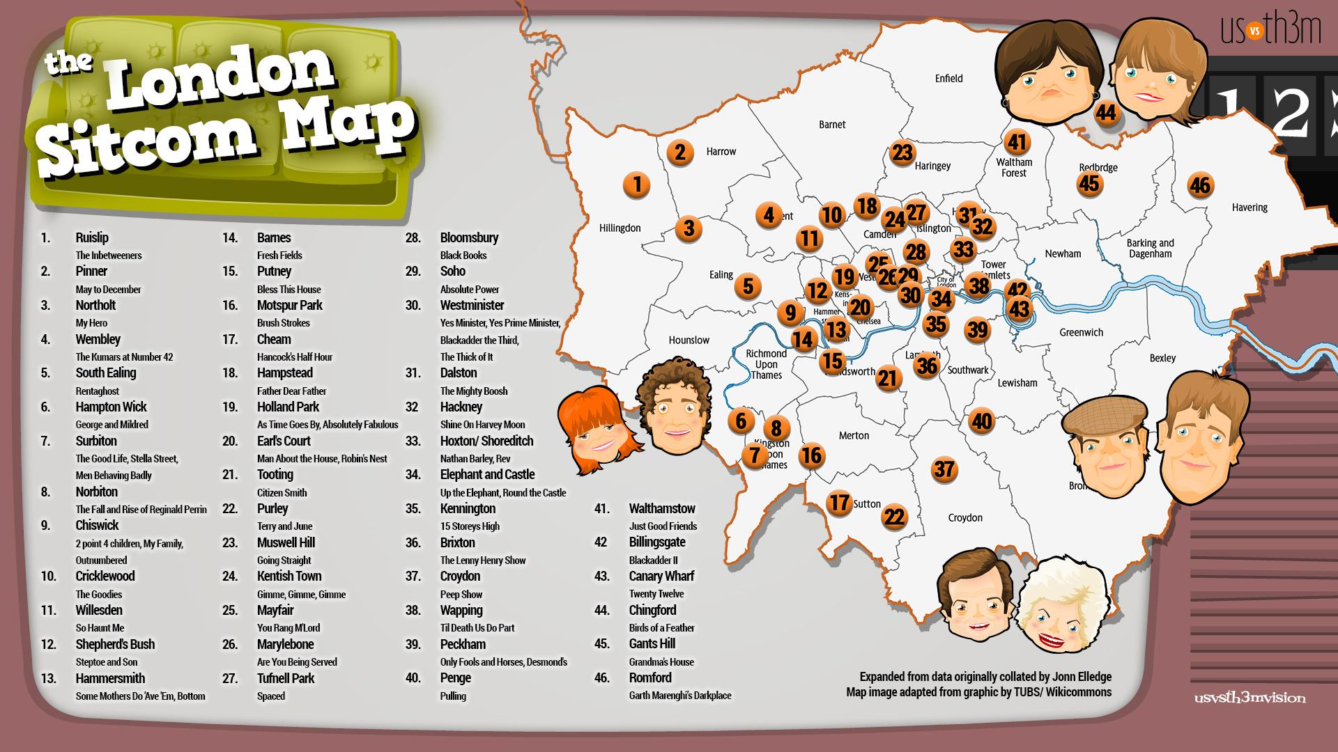 The London Sitcom Map