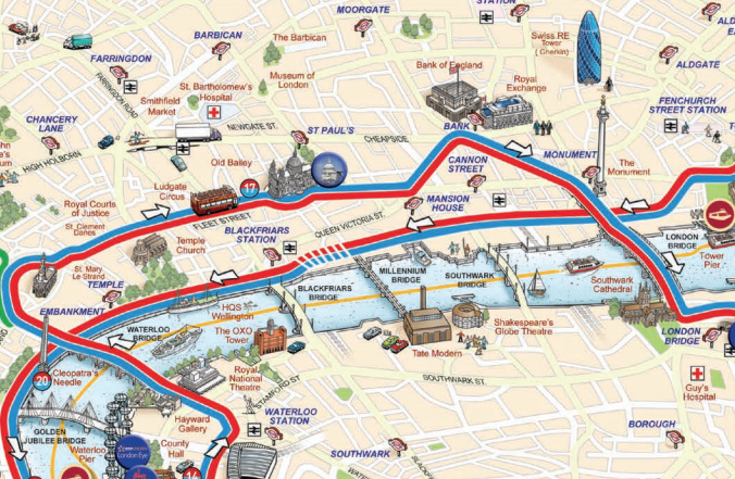 Touristic Map Of London.Tour Bus Maps Mapping London