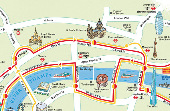 London Map Sightseeing.Tour Bus Maps Mapping London
