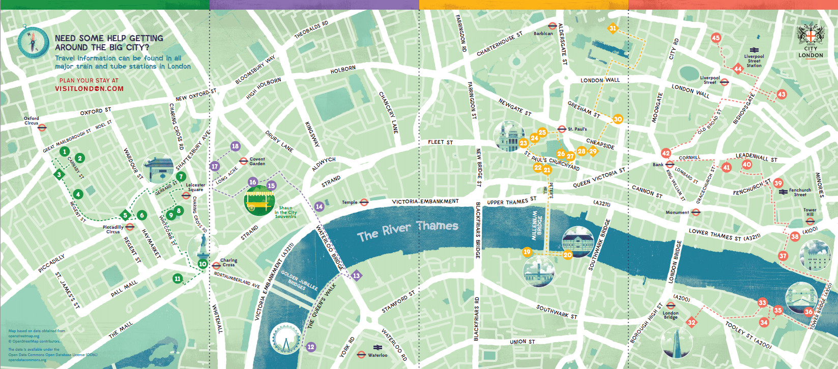 Map Centre London.Shaun In The City Mapping London