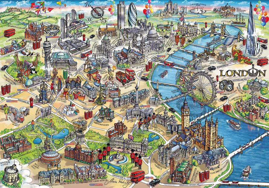 London Landmarks Jigsaw Puzzle – Map Of London For Tourists