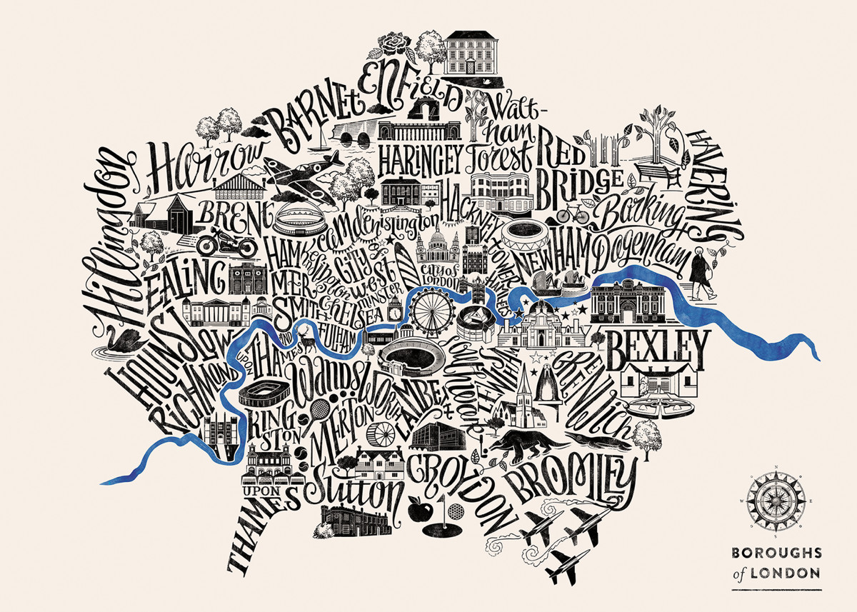 London Boroughs Typographical Map