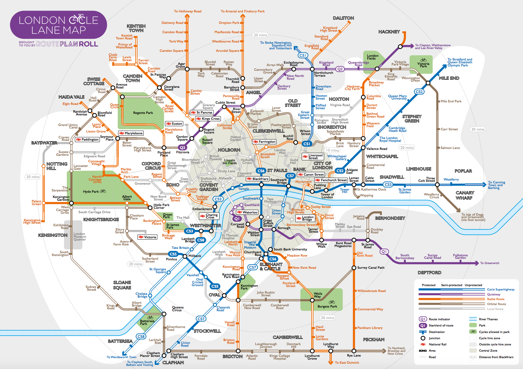 route plan roll cycle map | mapping london