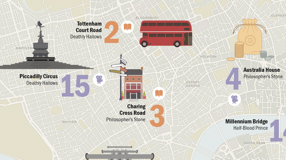 Harry Potter London Tour Map.Harry Potter Map Mapping London