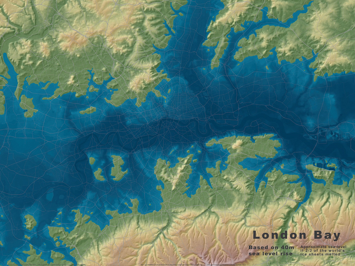 Map Of Uk If Sea Levels Rise.London Bay Mapping London