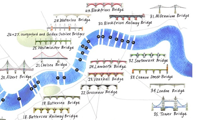 Map London Bridge.Bridges Of London Mapping London