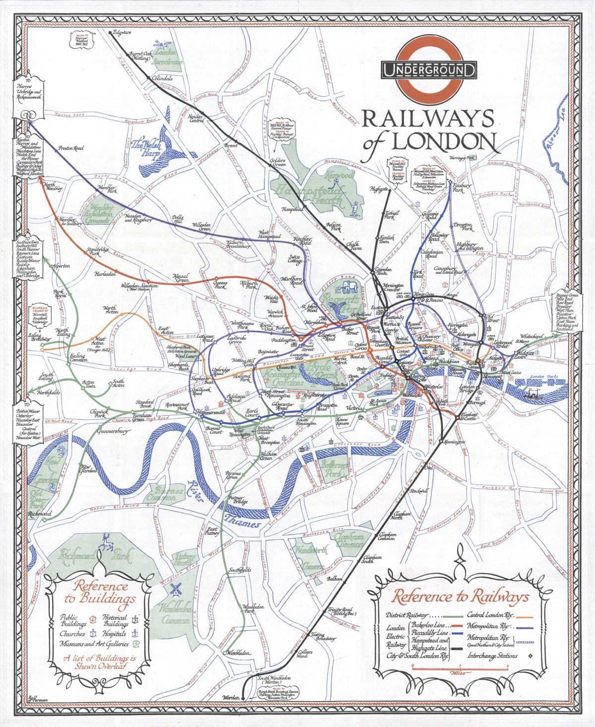 Underground railways of london 1928 mapping london the tube map is a design classic the straight lines even spacing and lack of unnecessary above ground detail has become a hall mark of metro maps across gumiabroncs Images