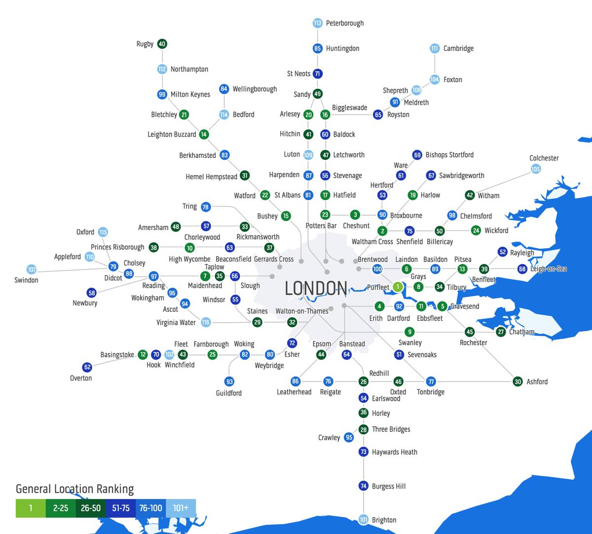 Best London Map.The Best Commuter Hotspots Mapping London