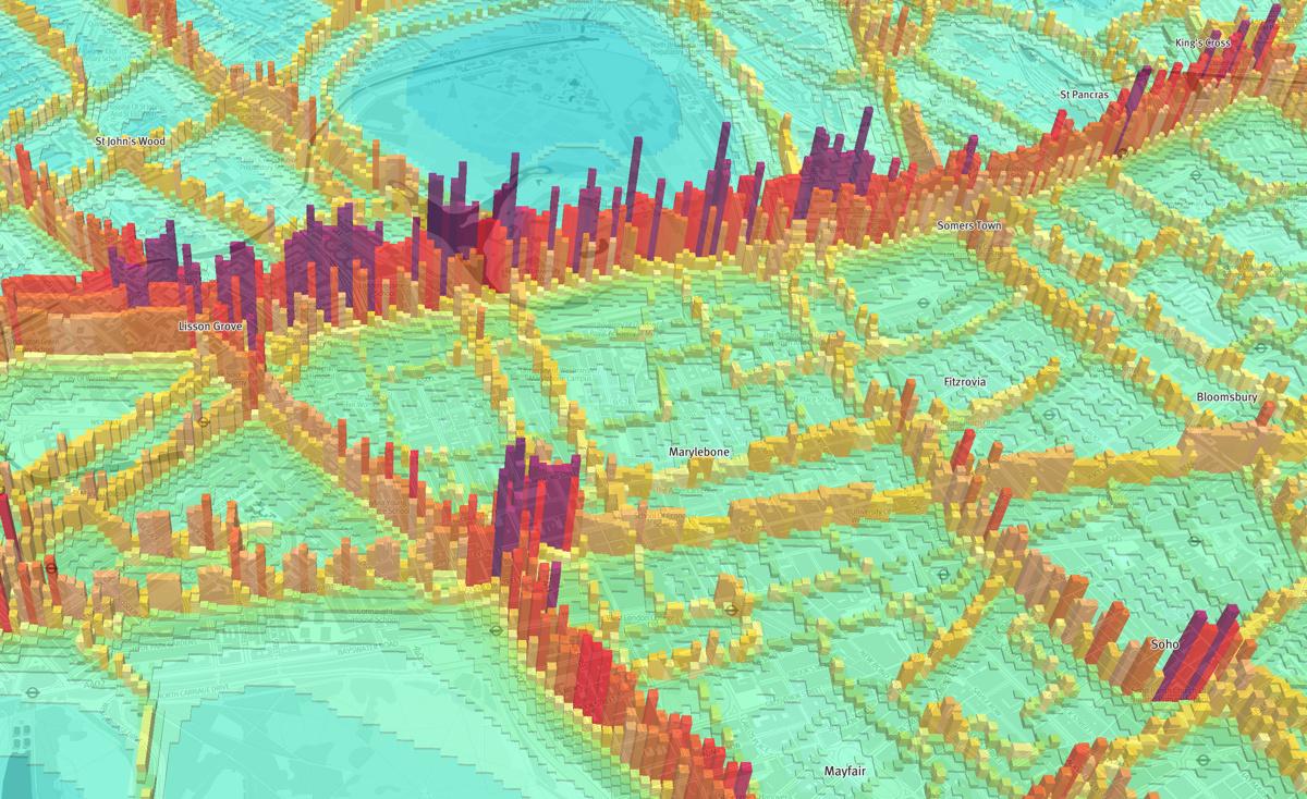 3D Map of Nitrogen Dioxide Pollution