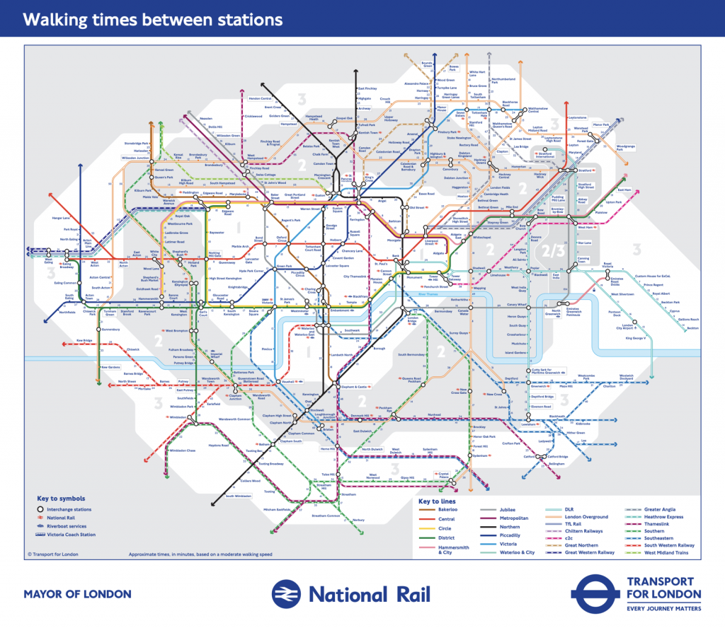 Tube Map Of London.Walking Tube Map Extended Mapping London